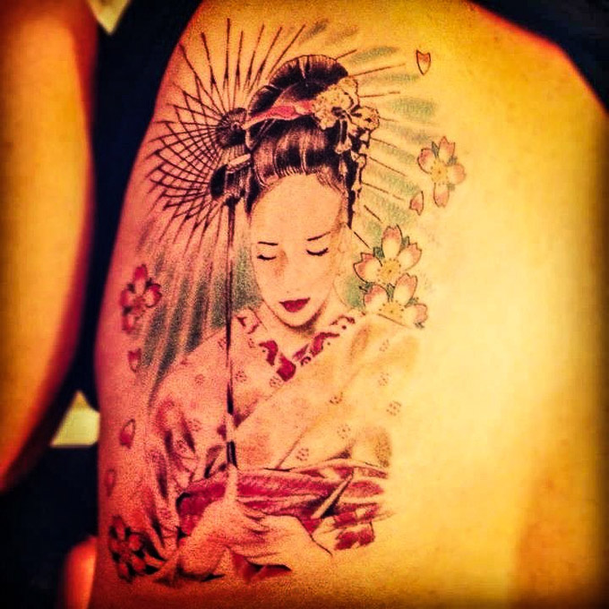 Japanese Geisha Tattoo by Chuck Cauton